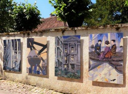 Les dessins de François Schuiten sur les murs de Semur-en-Auxois